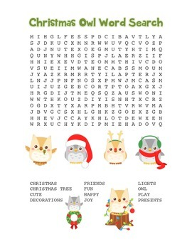 """""""Christmas Owl"""" Word Search – Holiday Fun! (Color and Black Line)"""