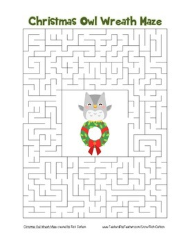 """Christmas Owl Wreath"" Maze! Holiday FUN! (Color and Black Line)"