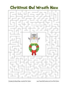 """Christmas Owl Wreath"" Maze! Holiday FUN! (Color and Black Line)"