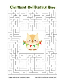 """""""Christmas Owl with Bunting"""" Maze! Holiday FUN! (Color and Black Line)"""