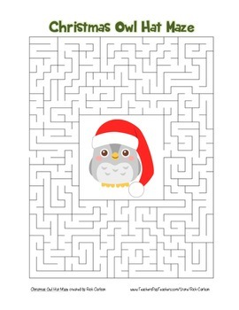 """""""Christmas Owl with Hat"""" Maze! Holiday FUN! (Color and Black Line)"""