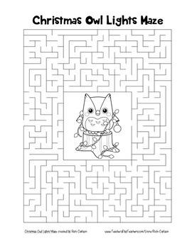 """Christmas Owl with Lights"" Maze! Holiday FUN! (Color and Black Line)"