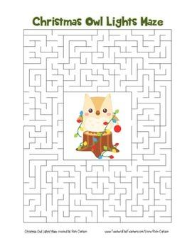 """Christmas Owl with Lights"" Maze! Holiday FUN! (Color and"