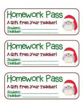 """Christmas Owl with Santa Hat"" Homework Pass Holiday FUN! (color & black line)"