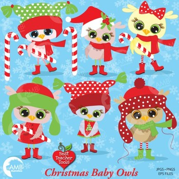 Christmas Clipart, Christmas Baby Owls, Holiday Owlettes Clipart, AMB-365