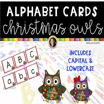 Christmas Owls Alphabet Cards  ~  Capital and lowercase letters