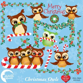 Christmas Owls Celebration clipart AMB-278