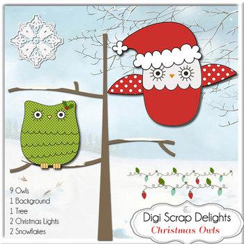 Christmas Owls Clip Art
