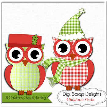 Christmas Owls Clip Art, Gingham Red and Green,