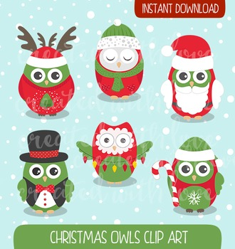 Christmas Owls Clip Art - Santa CLip Art - Owl Winter Clip Art