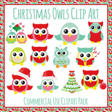 Christmas Owls Clip Art Set for Commercial Use