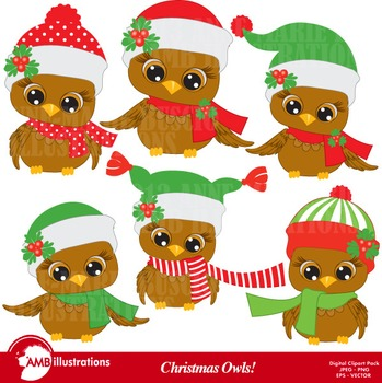 Christmas Owls Clipart AMB-352