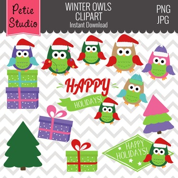 Christmas Owls Clipart // Christmas Gifts Clipart// Christ