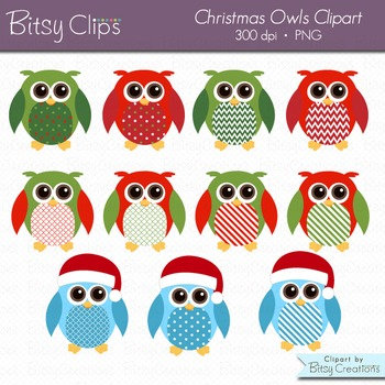 Christmas Owls Clipart Digital Art Set Commercial Use Clipart