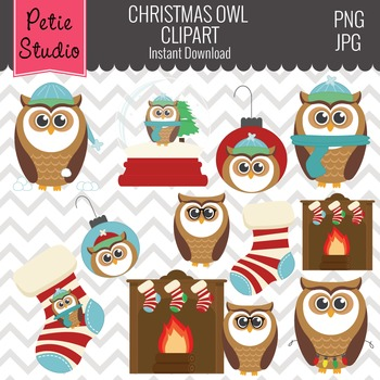 Christmas Owls Clipart // Fireplace and Stocking Clipart -