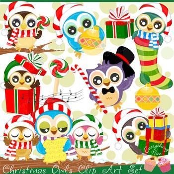 Christmas Owls Clipart Set