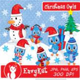 Christmas Owls Digital Clipart