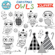 Clip Art: Christmas Owls Holiday for Personal and Commercial Use
