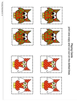 Christmas Speech Therapy Christmas Owls Lotto Game