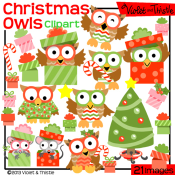 Christmas Owls Set 1Tree Candy Cane Mouse in Gift Present Clipart Clip Art