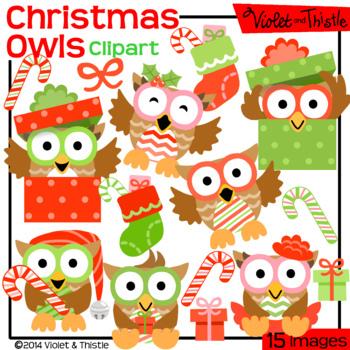 Christmas Owls Set 2 Clipart Christmas Clip Art