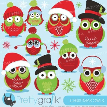 Christmas Owls clipart commercial use, vector graphics, digital clip art - CL588