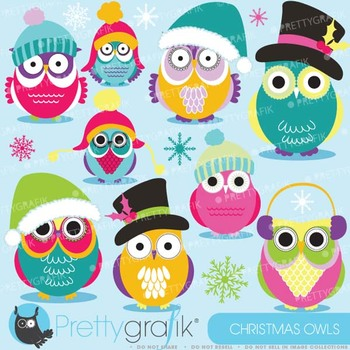 Christmas Owls clipart commercial use, vector graphics, digital clip art - CL589
