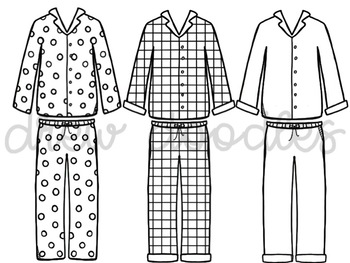 Christmas PJ's Digital Clip Art Set- Black Line Version