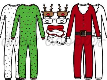 Christmas PJ's Digital Clip Art Set- Color and Black Line COMBO