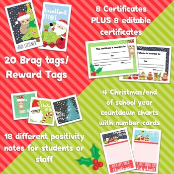 Christmas Pack - Reward tags, certificates, positivity notes, countdown calendar