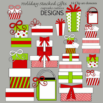 Christmas Package Digital Clip Art Elements