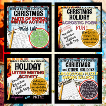Christmas Writing Activities: Crossword Puzzle, Word Search, Acrostic Poem
