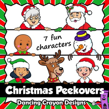 Christmas Page Toppers   Santa Peekover and Friends