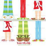 Christmas Pajama Feet Cute Digital Clipart, Christmas Graphics
