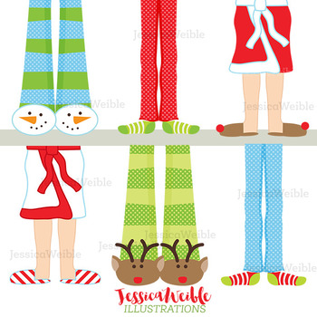 Christmas Pajama Feet Cute Digital Clipart bba36233a