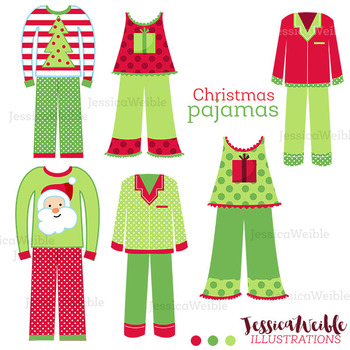 Christmas Pajamas - Cute Digital Clipart, Christmas Graphics