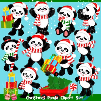 Christmas Panda Clipart Set