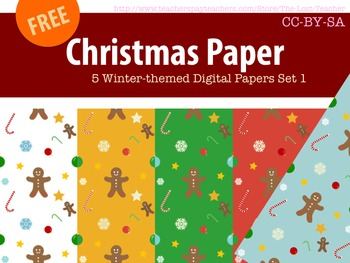 Christmas Paper 5 Winter-themed Digital Papers Set 1