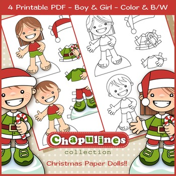Christmas Paper Dolls Boy and Girl, Color and B/W Coloring Pages