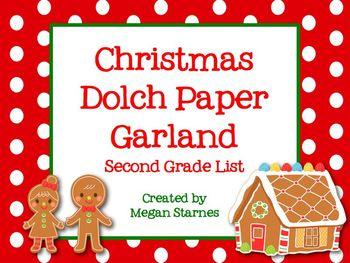 Christmas Paper Garland with Second Grade Dolch Words