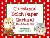 Christmas Paper Garland with Third Grade Dolch Words