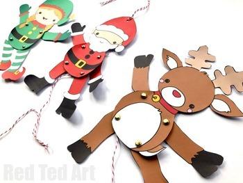 Christmas Paper Puppets (BUNDLE) - STEAM Craft Activity (Lesson Plan & Printable