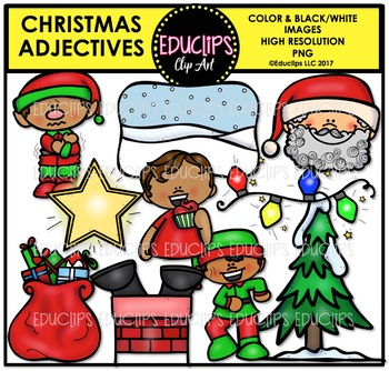 Christmas - Parts Of Speech Clip Art Big Bundle {Educlips Clipart}