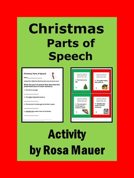 Christmas Writing Parts of Speech Task Cards