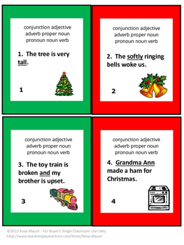 Christmas Writing Activities Parts of Speech Task Cards