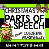 Christmas Parts of Speech Coloring Worksheets (11 Pages)