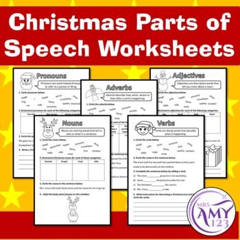 Christmas Parts of Speech (Grammar) Worksheets- Nouns, Verbs, Adjectives & more