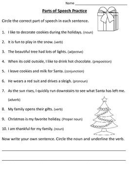 Christmas Parts of Speech Practice