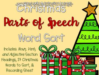 Christmas Parts of Speech Word Sort