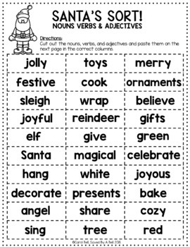 Christmas Parts of Speech Worksheets